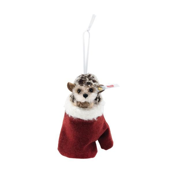 Hedgehog in mitten Christmas tree ornament 11cm (4.5 inches) high. Steiff 007040