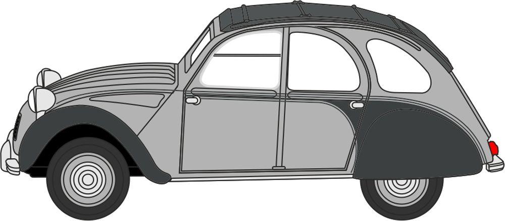 Oxford Diecast Citroen 2CV Charleston Cormorant Grey/Midnight Grey 76CT006