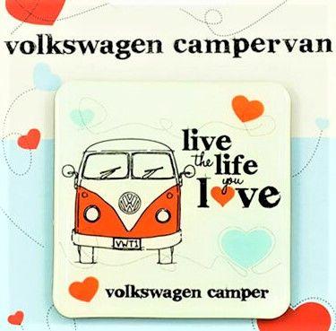 Volkswagen Camper Van Live the Life you Love Coasters set of 4 Official Volkswagen merchandise