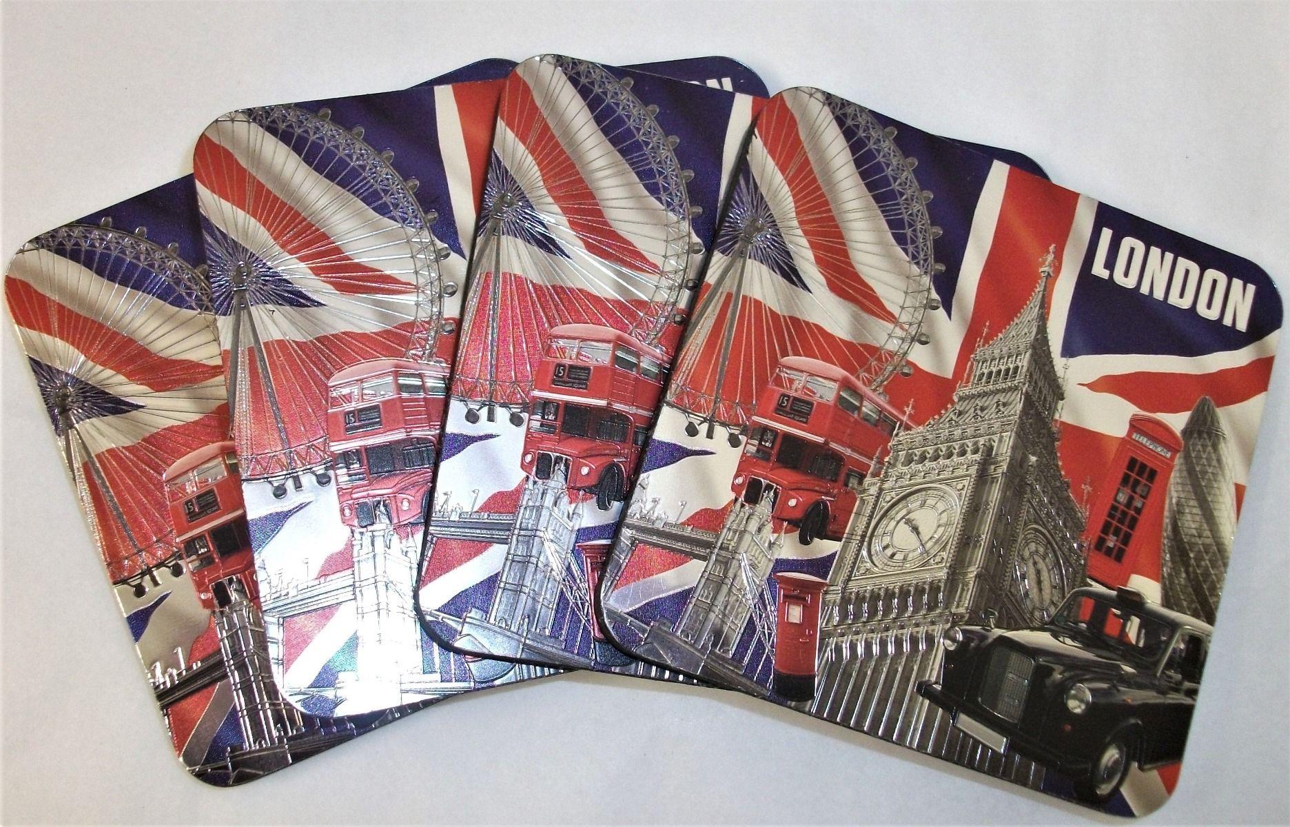 London 4 piece magnetic coaster set - Elgate 69467-000