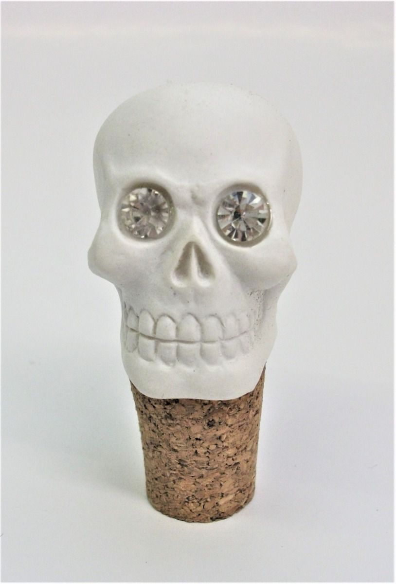 SK196 Crystal Eyed Skull Head Cork Bottle Stopper
