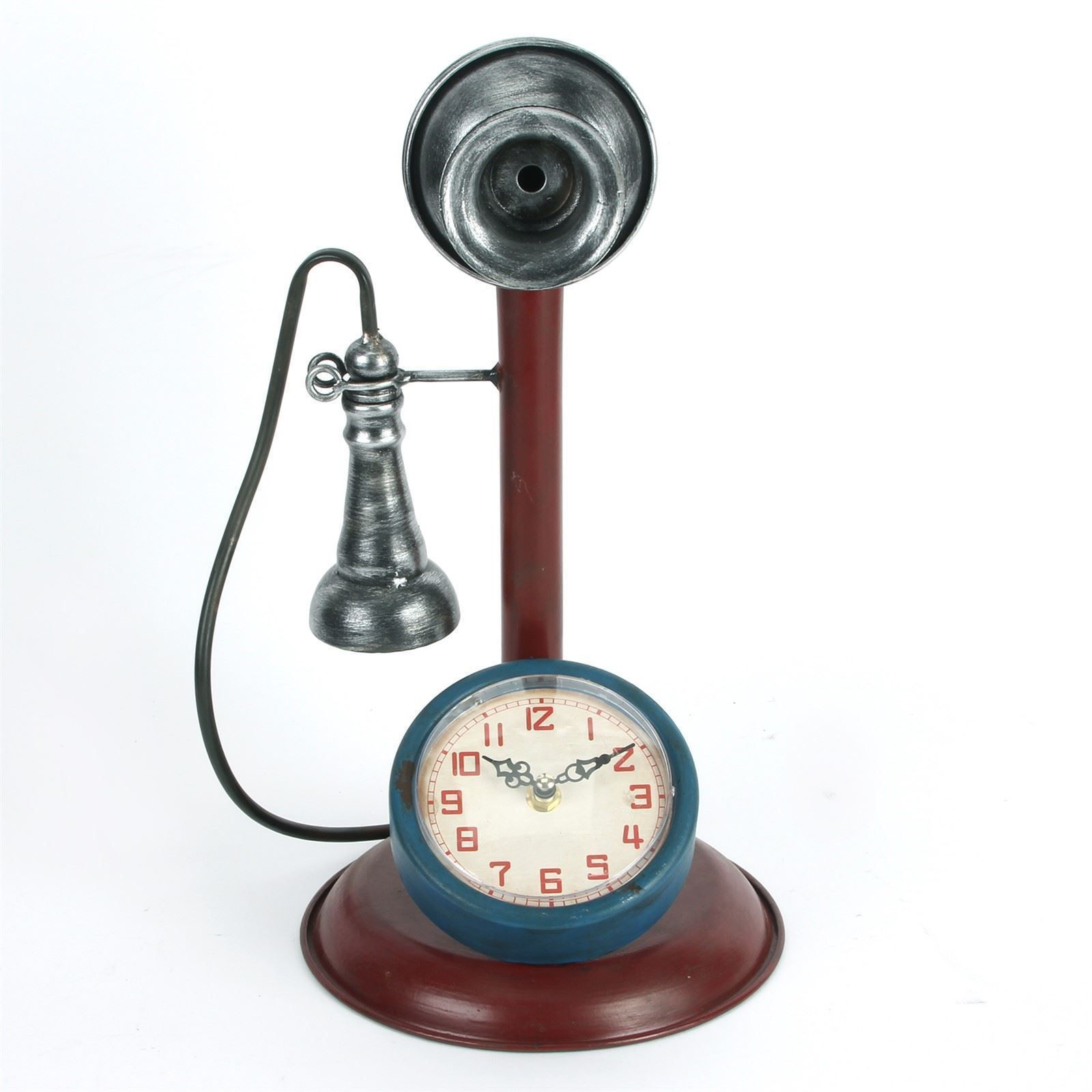 W2809 Retro Telephone Metal Case Mantel Clock by Hometime