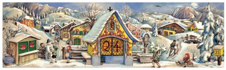 Richard Sellmer Panoramic Antique Style Advent Calendar Chapel in the Monutains 113