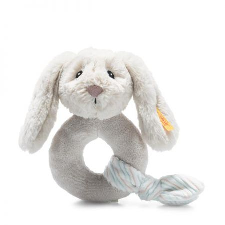 Steiff Hoppie Rabbit Grip Toy with Rattle Grey Plush Soft Cuddly Friends 242267