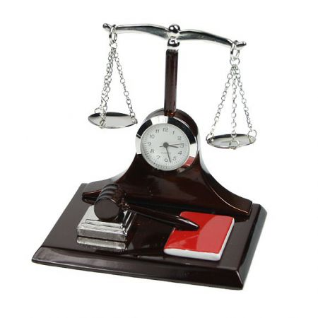Scales of Justice Miniature Clock by Shudehill Gifts 296325