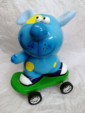 31835C Cute Blue Dog on Skateboard Money Bank by Shudehill Giftware