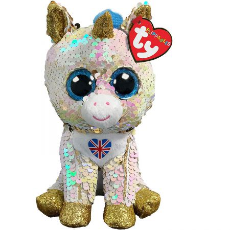 36352 Royal Unicorn With Union Jack Flippable Beanie by TY 15cm