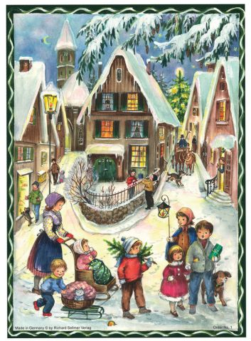 1 Old Village Christmas Traditional A4 Advent Calendar by Richard Sellmer