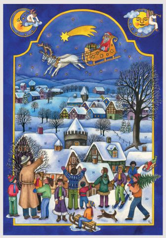 813 Father Christmas Visits Traditional A4 Advent Calendar by Richard Sellmer