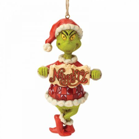 Grinch Naughty or Nice Sign Hanging Ornament Jim Shore & Enesco 6002073