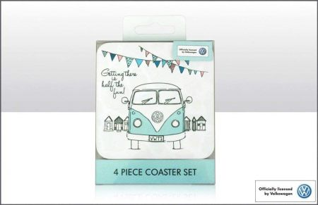 VW Getting There is Half The Fun Coaster Set of 4 by Elgate 68195