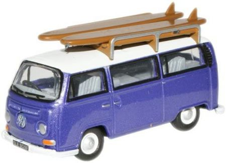 Oxford Diecast VW Bus Metallic Purple/White with surfboards 76VW015