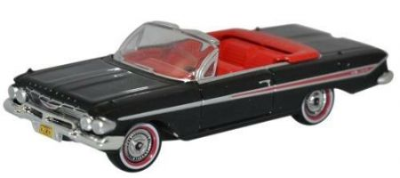 87CI61001 Chevrolet Impala 1961 Convertible Tuxedo Black/Red by Oxford Diecast