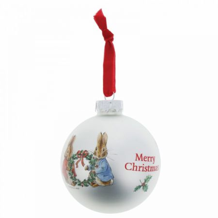 Beatrix Potter Peter Rabbit and Flopsy Holding Holly Wreath Bauble Enesco A28974