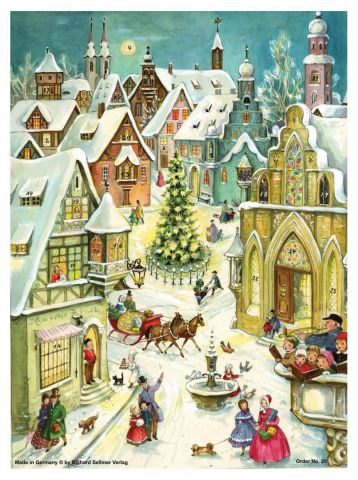 29 In the Town Traditional A4 Advent Calendar by Richard Sellmer