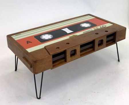 Solid Wood Retro Cassette Table