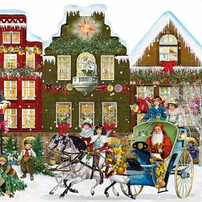92398 Free Standing Christmas Street Traditional Advent Calendar by Coppenrath