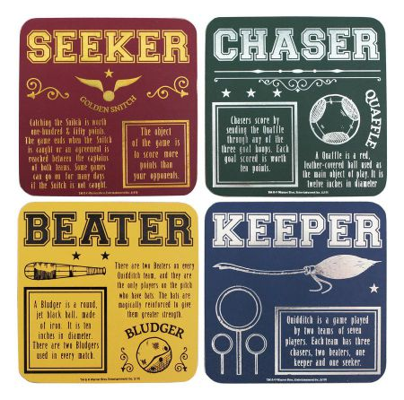 Harry Potter Quidditch Coasters Set of 4 CST4HP03 by Half Moon Bay