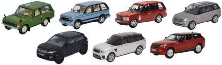 Oxford Diecast Range Rover Set Classic P38/3rd Gen/Vogue Evoque/Sport/Velar 7 piece 76SET72
