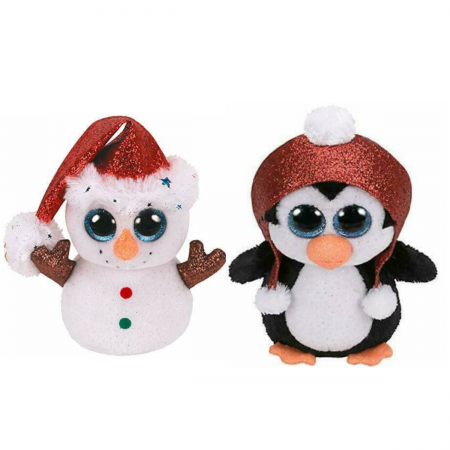 TY Christmas Beanie Boo Set, Flurry the Snowman, Gale the Penguin, 2019, 36681, 36682