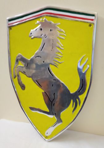 Ferrari Shield - Polished Aluminium and Painted Reproduction Metal Sign