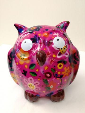 31876 Pomme Pidou Money Bank Zazou the Owl Pink
