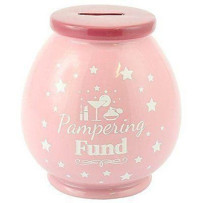 LP27858 Pampering Fund Ceramic Money Pot by Lesser & Pavey Co