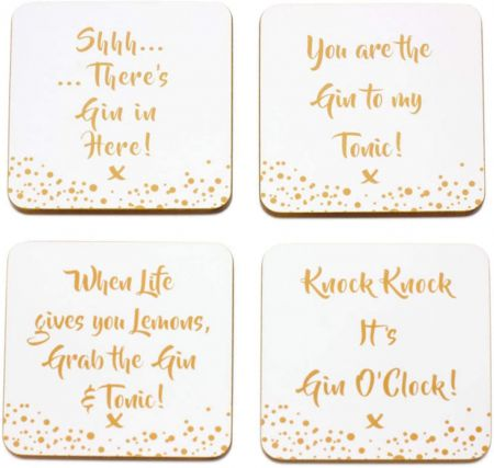 Gin Coasters The Leonardo Collection Gold Edition Set of 4 LP41109