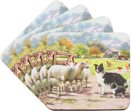Collie and Sheep Coasters Set of 4 The Leonardo Collection LP92428