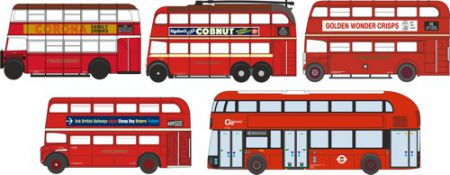 NSET004 5 Piece Bus Set London Transport  by Oxford Diecast