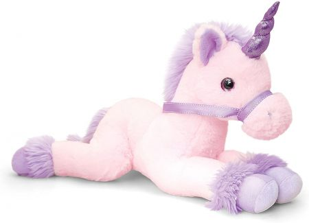 Pink Lying Unicorn Soft Toy by Keel Toys 35cm SF1719