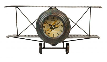 W2764 Biplane Metal Case Mantel Clock