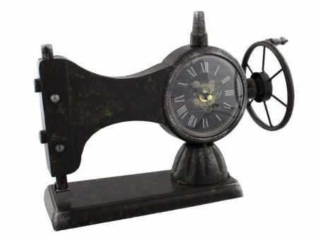 Hometime Sewing Machine Metal Case Mantel Clock W2781