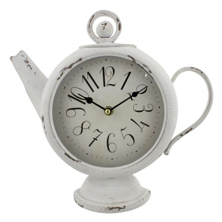 W2872 Teapot Shaped Metal Case Mantel Clock