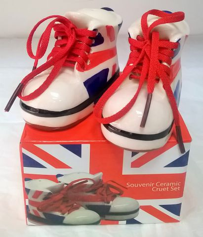 66893 Union Jack Baseball Boot Ceramic Cruet Set