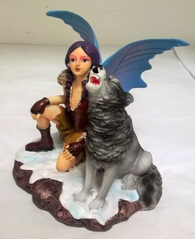 FYP139 Mystic Realms Crouching Snow Fairy with Howling Wolf Figurine