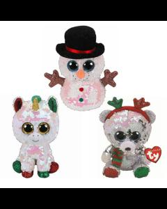 TY Christmas Flippables Beanie Boo Set, Melty, Stardust, Mistletoe, 2019, 11cm