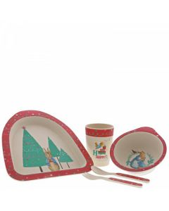 Peter Rabbit Christmas Bamboo Dinner Set  by Enesco A29398