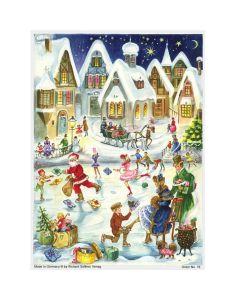 19 Ice skating Santa Christmas Traditional A4 Advent Calendar by Richard Sellmer