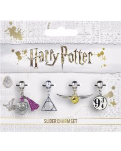 Harry Potter Golden Snitch/Deathly Hallows/Love Potion/Platform 9 3/4 Slider Charm Set by The Carat Shop HP0070
