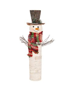Christmas Birch Wood Look Tall Snowman Large with Hat & Scarf Shudehill Gifts 202002