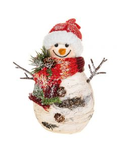 Christmas Birch Wood Look Fat Snowman with Hat & Scarf Shudehill Gifts 202011