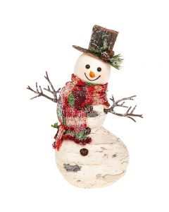 Christmas Birch Wood Look Fat Snowman Large with Hat & Scarf Shudehill Gifts 202012