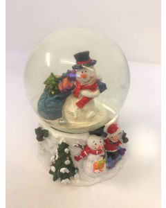 Xmas Fun Santa Snowman With Sack Snow Globe Medium by Joe Davies 202391A