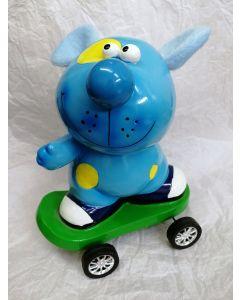 31835C Cute Blue Dog on Skateboard Money Bank by Shudehill Giftware