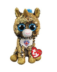 36351 Noble Unicorn With Union Jack Flippable Beanie by TY 15cm