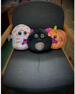 Set of 3 medium TY Squishaboos: Goblin Ghost, Eerie bat and Seeds Pumpkin (10 inches / 25cm)