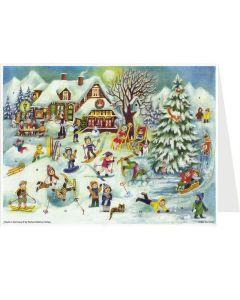 Richard Sellmer Postcard Advent Calendar Snowfall Scene 40131