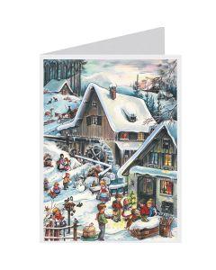 Richard Sellmer Postcard Advent Calendar Snowy Village with Children 40804