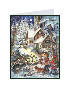 Richard Sellmer Postcard Advent Calendar Snowy Animals 409